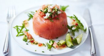Recette Pavés de saumon fumé et crevettes